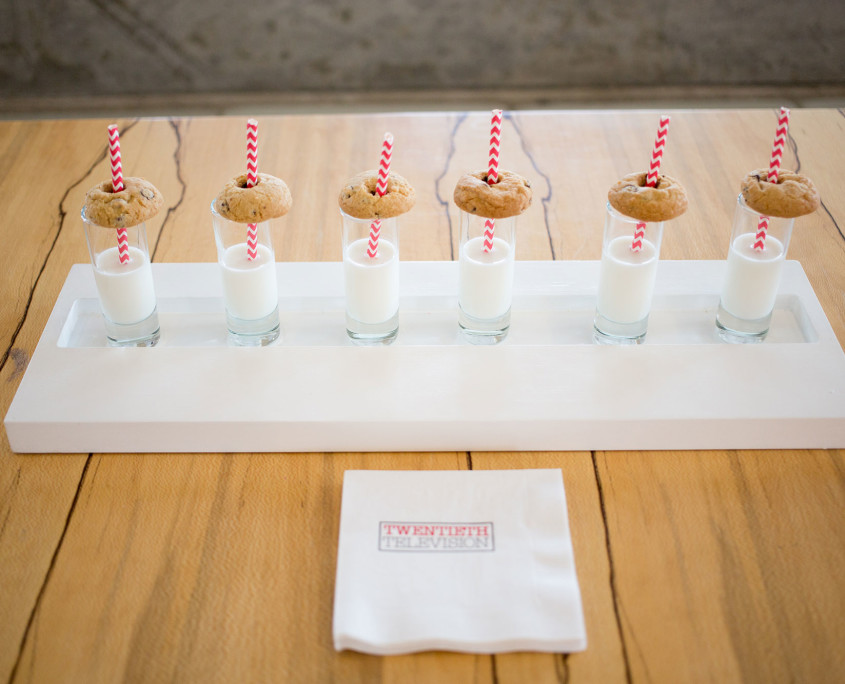 Milk and cookie shots were served with Twentieth Television branded napkins while agency employees waited in line to fill their cookie bags.