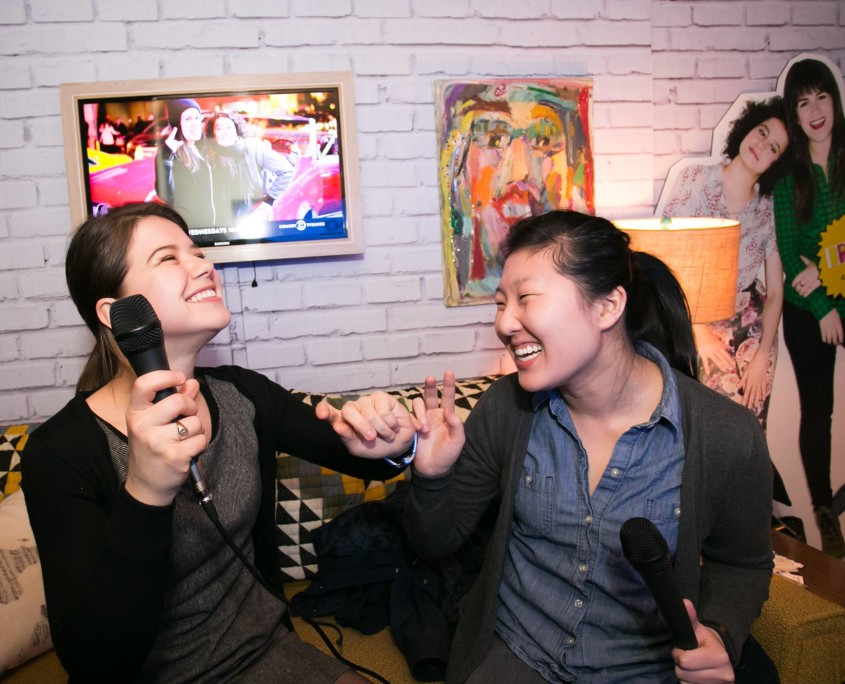 Fans enjoy the opportunity to sing karaoke aboard Comedy Central's Broad City RV.