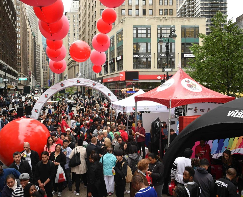 The scene was packed in New York City's Herald Square at the Red Nose Day Pre-Event Party.