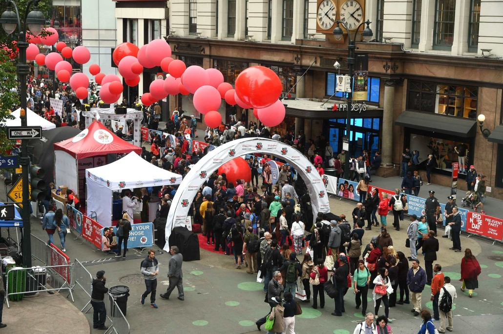 Guests wait in line to check out Duane Reade's Red Nose Day Pre-Event Party.