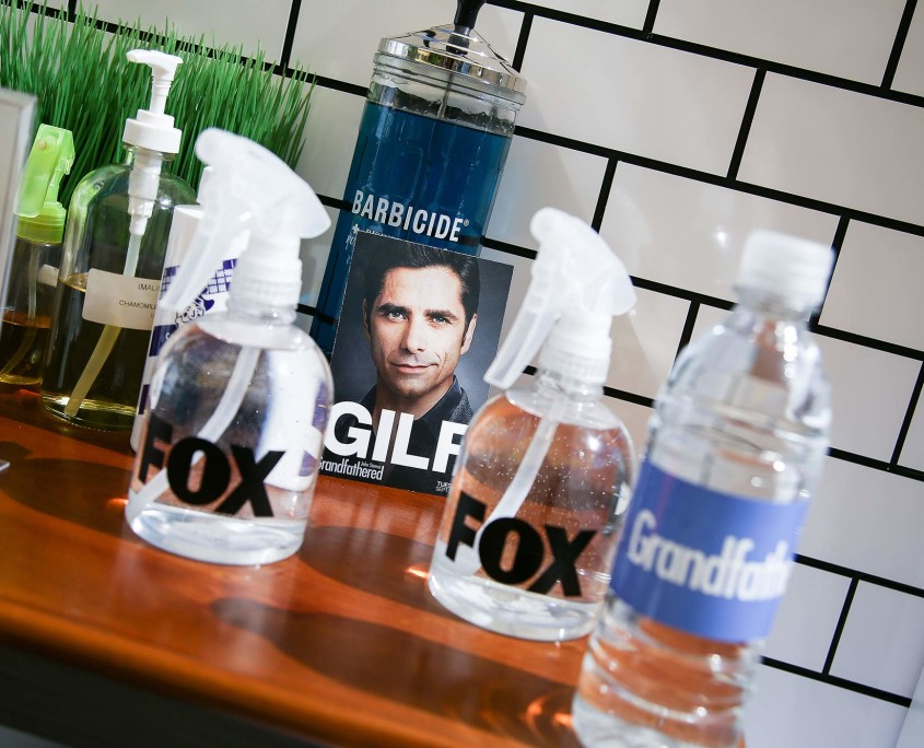 Even each barbers' tools were branded at the Grandfathered Pop-Up Barbershop, promoting FOX's new show.