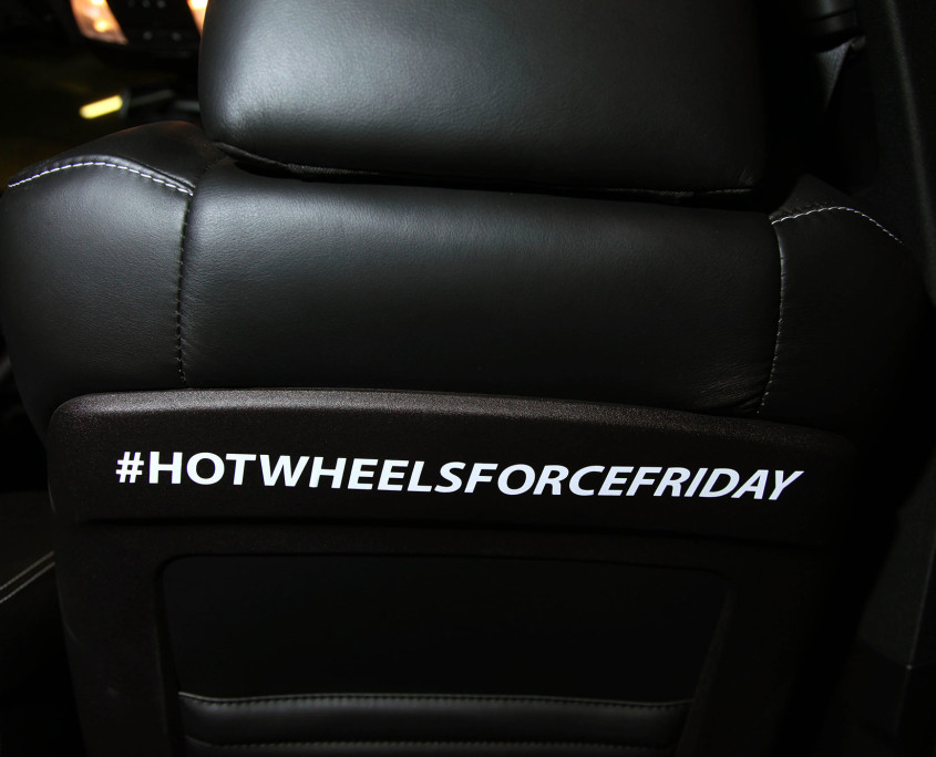 Even passengers in the Stormtrooper Dodge SRT's could not forget that it was Hot Wheels Force Friday with branded hashtags on the interiors.