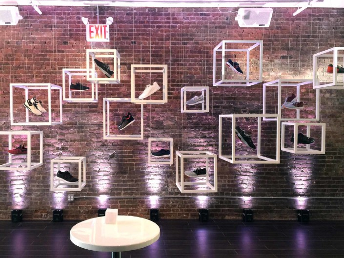 New Balance's new line of sneakers were transformed into an art installation for guests to enjoy at the press event.