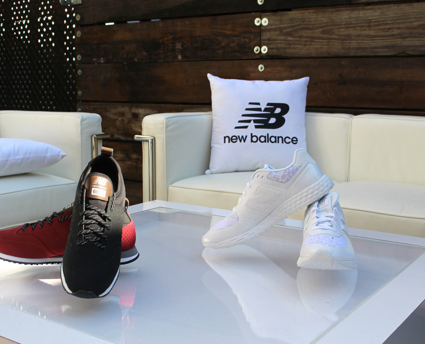 New Balance's new line of sneakers served as excellent accent decorations at the press event.