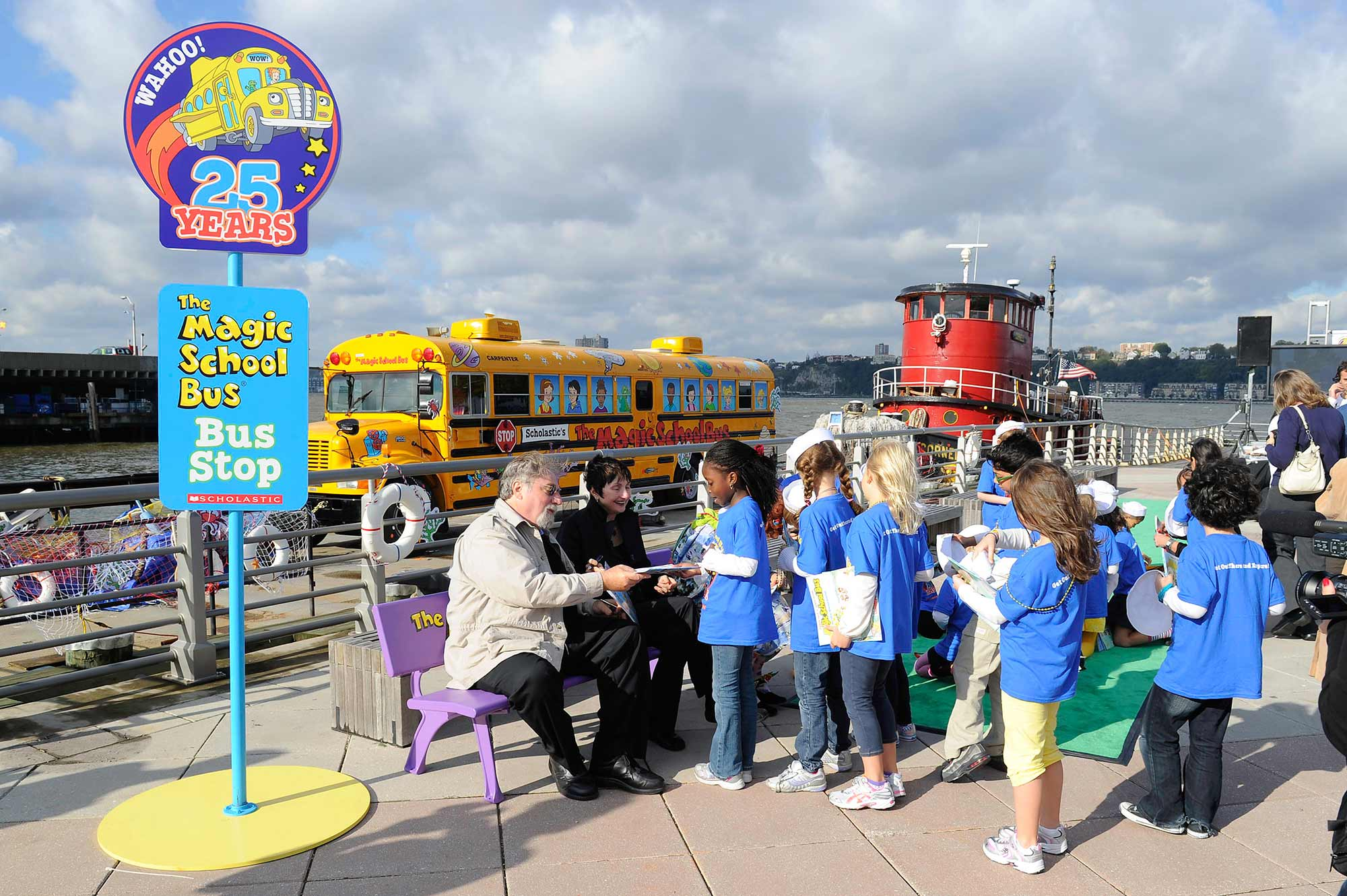 Students participate in a meet and greet with the author and illustrator of Scholastic's popular series, The Magic School Bus.