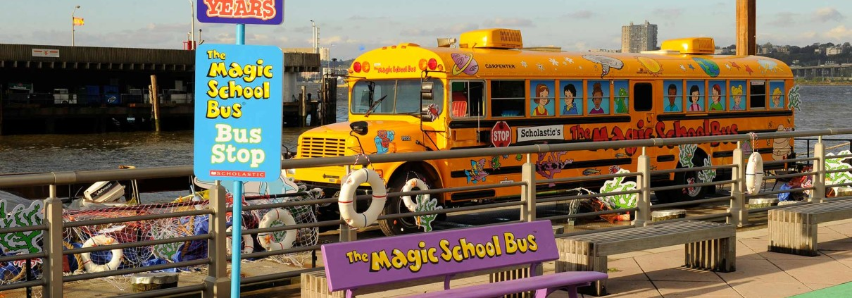 "The Magic School docked into Pier 84, where a custom branded ""bus stop"" waited for students to arrive."