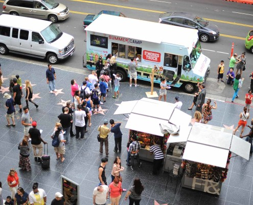 Guests continue to wait for gourmet s'mores from the Summer Camp S'mores Truck along Hollywood's Walk of Fame.