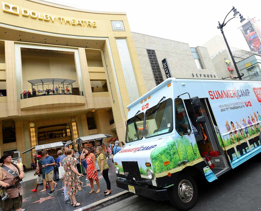 The custom Summer Camp food truck serves guests gourmet s'mores along Hollywood's Walk of Fame.