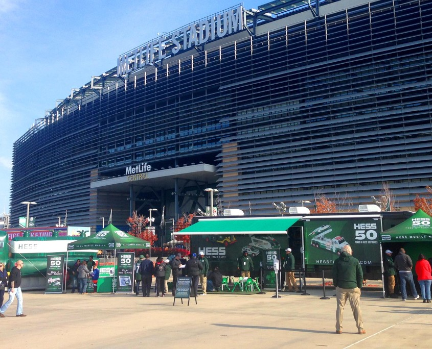 The mobile museum was far more than just an RV, with several external pieces set up at each stop. Pictured here at MetLife Stadium.