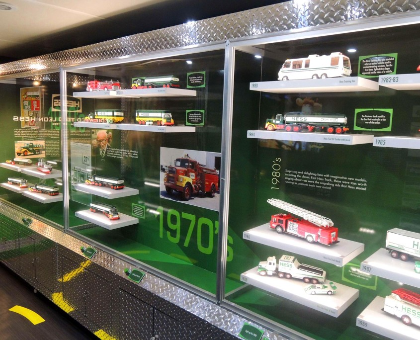 The mobile museum was categorized by each decade, showcasing the Hess Toy Truck sold each year for the past 50 years.
